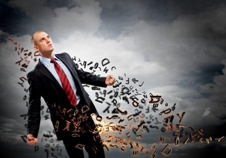 amok: Image of young businessman in anger against illustration background Zdjęcie Seryjne