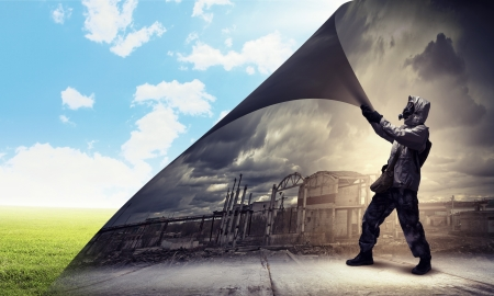 Image of man in gas mask turning page  Ecology concept Stock Photo - 21358441