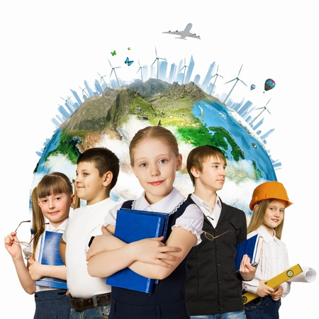 Image of kids of school age  Choosing profession  Elements of this image are furnished by NASA photo