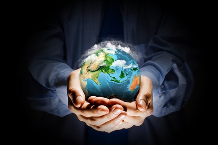carefully: Let s save our planet earth  Ecology concept  Elements of this image are furnished by NASA