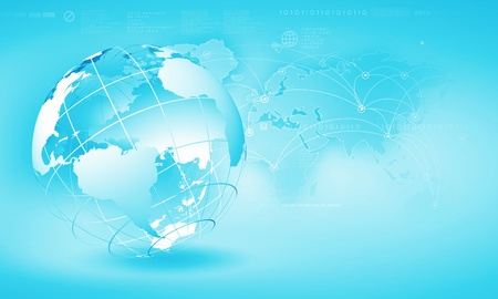 virtual world: Blue digital image of globe  Background image