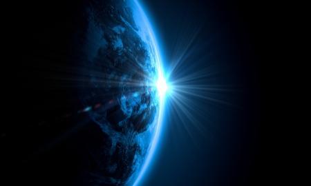 Planet Earth met verschijnen zonnestraal licht Elementen van dit beeld zijn geleverd door NASA Stockfoto