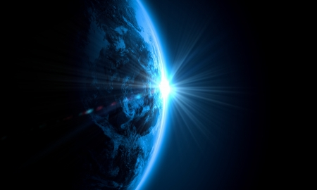 glowing earth: Planet Earth with appearing sunbeam light  Elements of this image are furnished by NASA Stock Photo