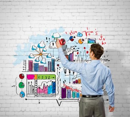 Retour voir l'image de croquis de dessin d'affaires sur le mur Banque d'images