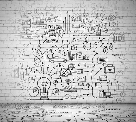 Business ideas sketch drawn on light wall photo