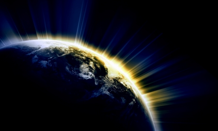 appearing: Planet Earth with appearing sunbeam light.