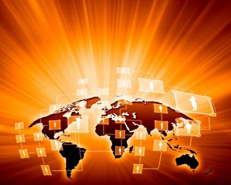 Orange vivid image of globe Globalization concept