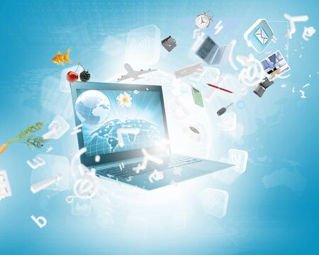 Background image with laptop and media icons photo