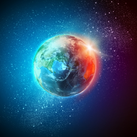 future space: Earth planet in sun rays  Stock Photo
