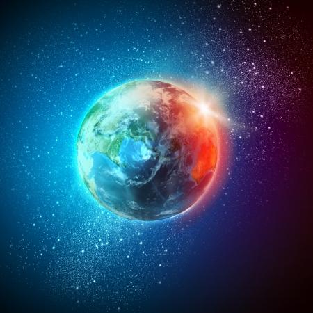 planeten: Planet Erde in Sonnenstrahlen Lizenzfreie Bilder
