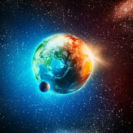 이 이미지의 태양 광선 요소에 지구 행성은 NASA가 제공됩니다
