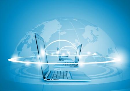 world wide: Laptops against globe blue illustration  Globalization concepts