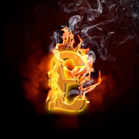 Illustration of pound burning symbol  Money concept illustration