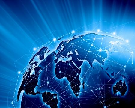 Blauw levendig beeld van globe Globalisering begrip