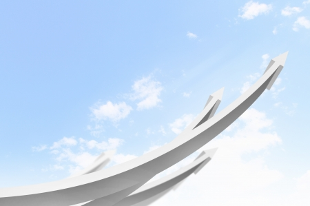 Abstract image with white arrows going up into sky