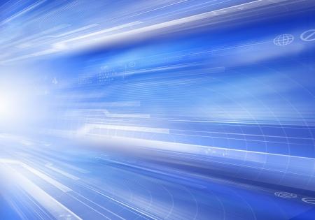技術記号とデジタル青い背景画像
