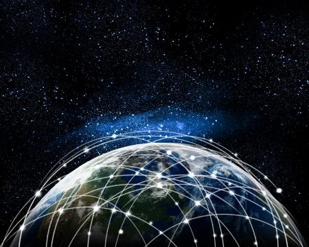 Azul con la imagen vívida de la Globalización globo concepto elementos de esta imagen son proporcionados por la NASA Foto de archivo - 21480938