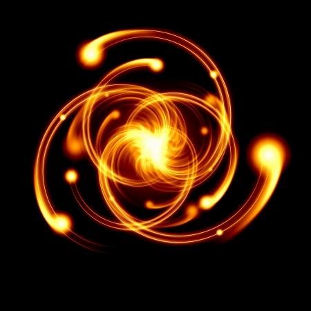 photon: Image of color atoms and electrons  Physics concept