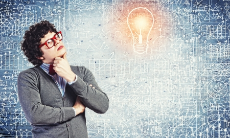 Young man in the process of thinking and finding a solution Stock Photo - 21481106