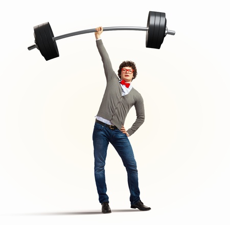 Weight Lifting businessman with a red tie  illustration illustration