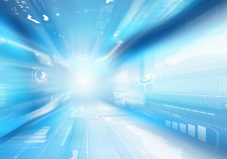 Digitale afbeelding blauwe achtergrond met technologie symbolen