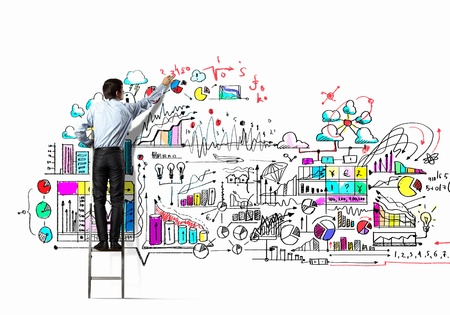 project: Back view of businessman drawing sketch on wall