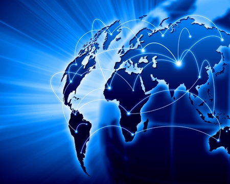 global: Blue vivid image of globe  Globalization concept