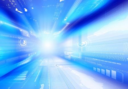 기술 기호가있는 디지털 파란색 배경 이미지