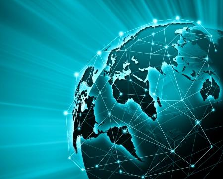 Green vivid image of globe  Globalization concept Banco de Imagens