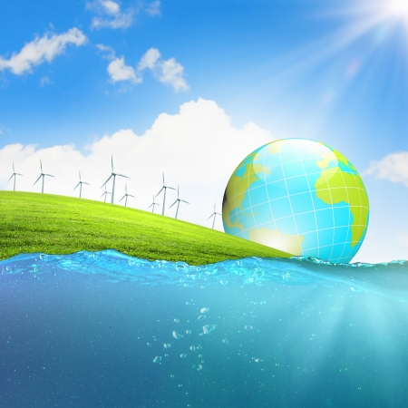 Image of earth planet floating in water  Global warming Stock Photo