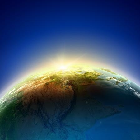 太陽の下で地球惑星光線要素
