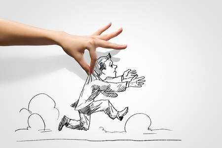 hand drawing: Hand drawing image of businessman  Business challenge