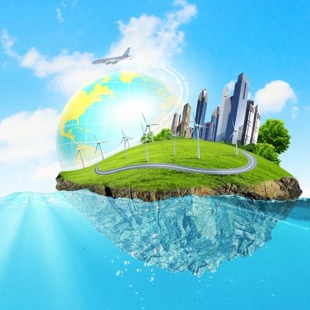 Afbeelding van de planeet aarde drijvend in water Opwarming van de aarde