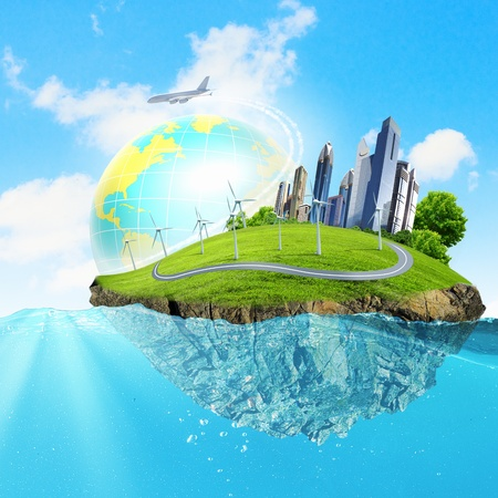 earth pollution: Image of earth planet floating in water  Global warming Stock Photo