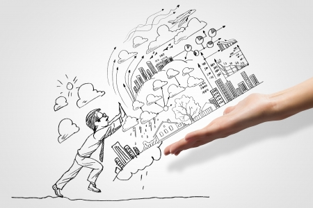job: Hand drawing image of businessman  Business challenge