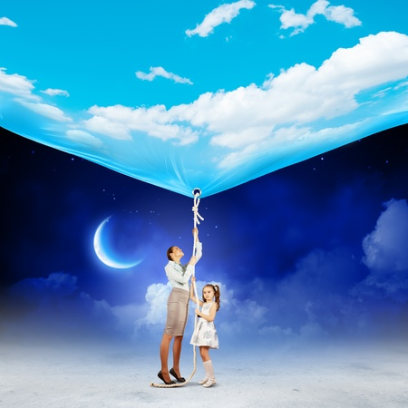 Image of young happy family pulling banner with night illustration illustration