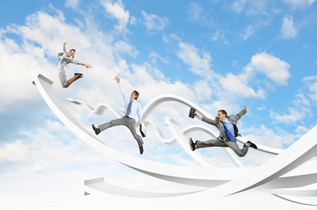 success business: Young businesspeople jumping on white arrows  Growth concept