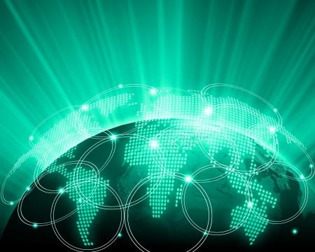 Green vivid image of globe  Globalization concept photo