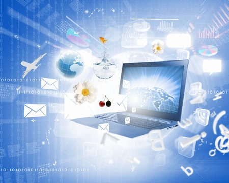 Background image with laptop and media icons Stock Photo - 21562197