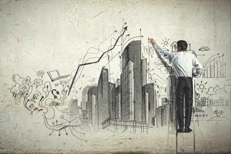 planowanie: Powrót widok szkicu rysunku biznesmen na ścianie Zdjęcie Seryjne