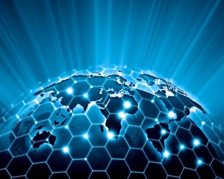 transnational: Blue vivid image of globe  Globalization concept