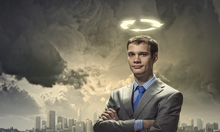 Image of businessman with halo above head photo