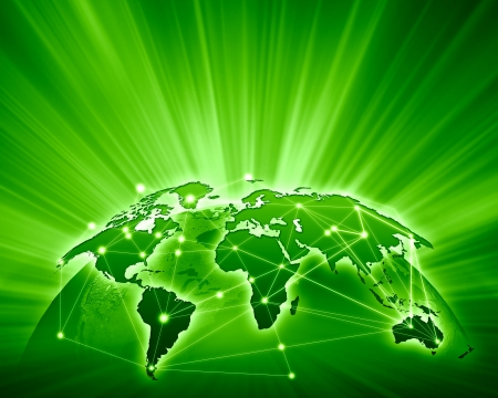 Green vivid image of globe  Globalization concept Фото со стока