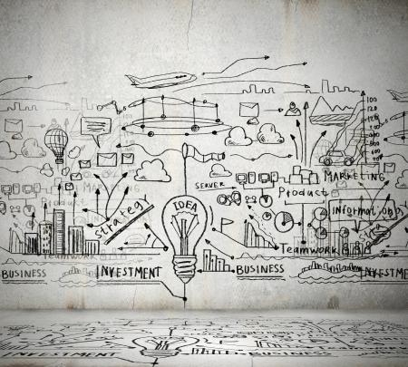 ビジネスのアイデアを光の壁に描かれたスケッチします。