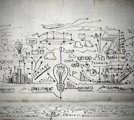 hand drawn: Business ideas sketch drawn on light wall Stock Photo