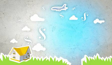 Colorful background image with signs and symbols  Business concept photo