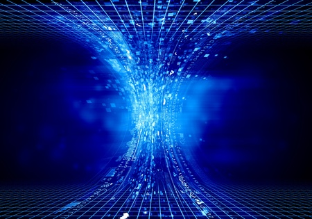Blauw digitaal trechter tegen een donkere achtergrond concept van de technologie