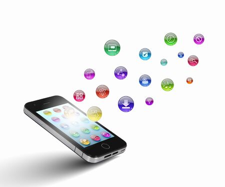 Media technology illustration with mobile phone and icons Stock Illustration - 21579510