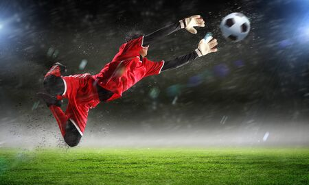 soccer cleats: Goalkeeper catches the ball   At the stadium, in the spotlight