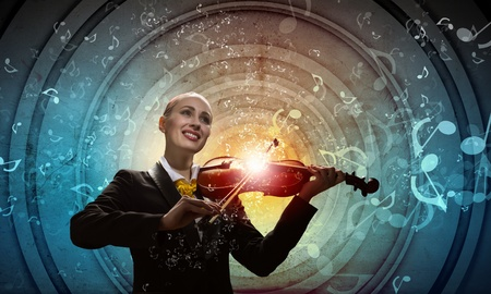 concerto: Image of young smiling businesswoman playing violin